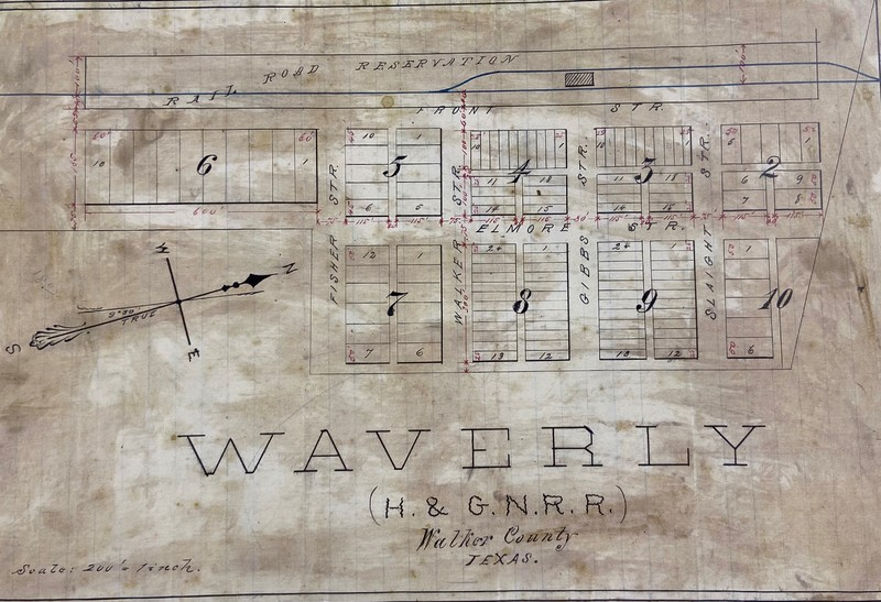 Map of (New) Waverly, Texas, recorded August 31, 1874