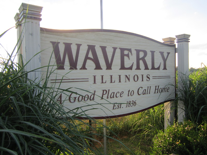 Town sign in Waverly, Illinois, July 10, 2013