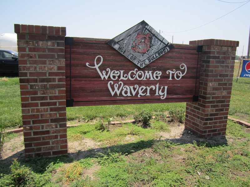Town sign in Waverly, Kansas, July 12, 2013