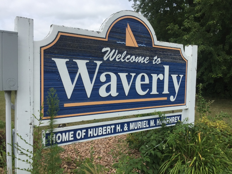 Welcome sign, Waverly, Minnesota, July 24, 2017