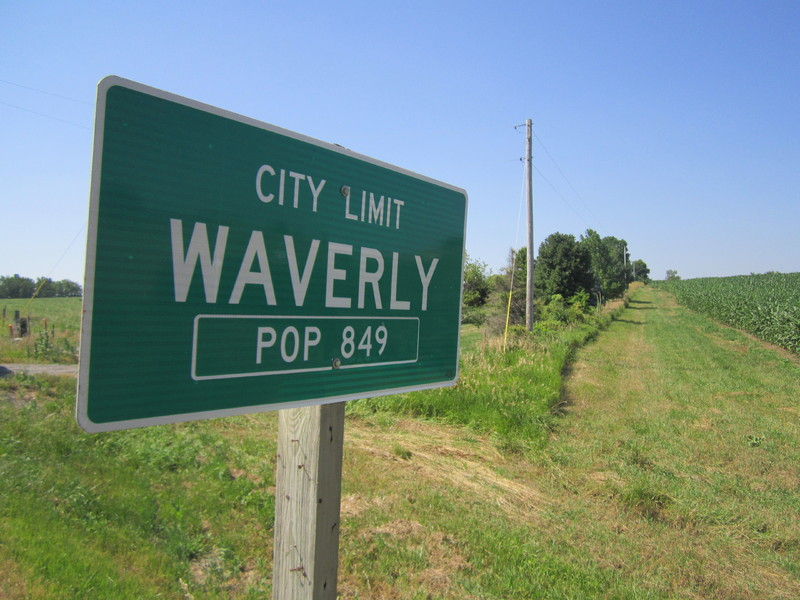 Town sign in Waverly, Missouri, July 11, 2013