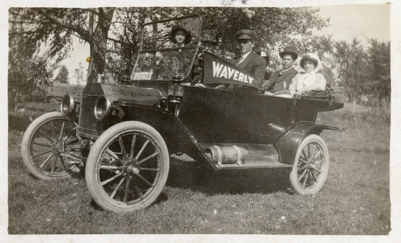 Automobile with five people, Waverly pennant displayed, El Paso Township, WI, ca. 1910-1920