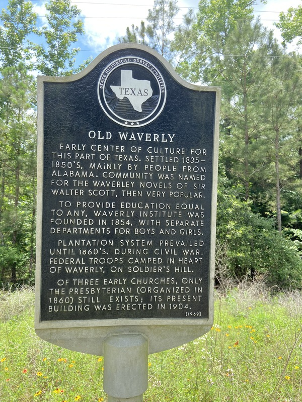 Old Waverly, Texas, historical sign