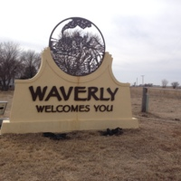 Welcome Monument in Waverly, Nebraska, March 17, 2014